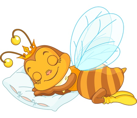 An adorable bee sleeping on a pillow Vector