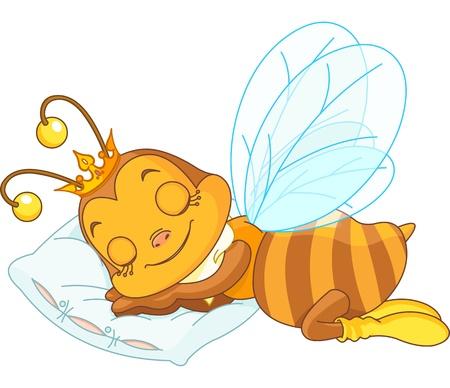 abeja reina: Una abeja adorable durmiendo sobre una almohada Vectores