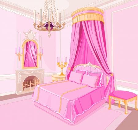 Wnętrze magii księżniczka sypialni Ilustracje wektorowe