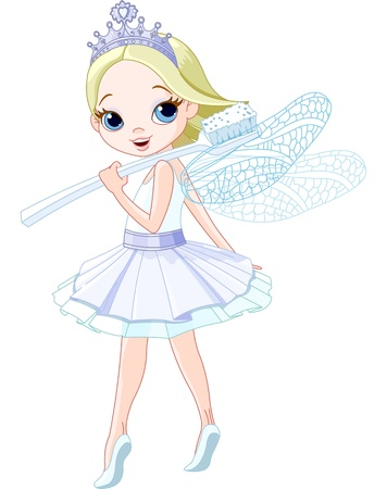 Cute smiling tooth fairy with toothbrush  向量圖像