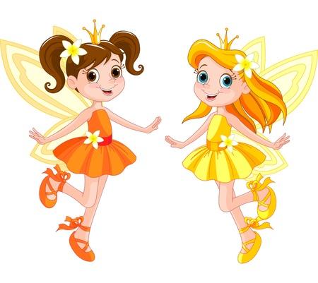 hadas caricatura: Ilustración de dos hadas lindo en mosca Vectores