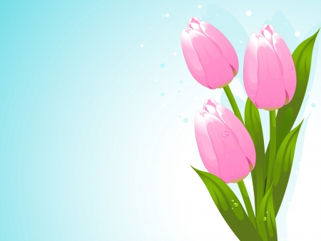 Bunch of pink tulips background Illustration