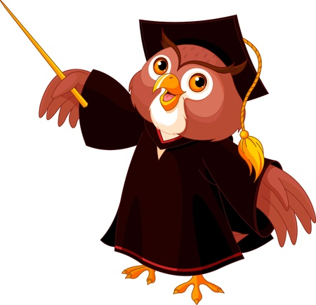 Cartoon of pointing wise owl  Ilustrace