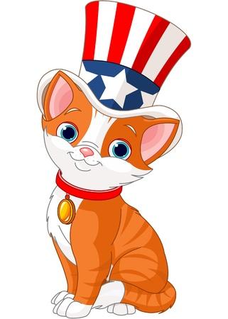 gato caricatura: Cuatro de gatito de julio con el sombrero de copa