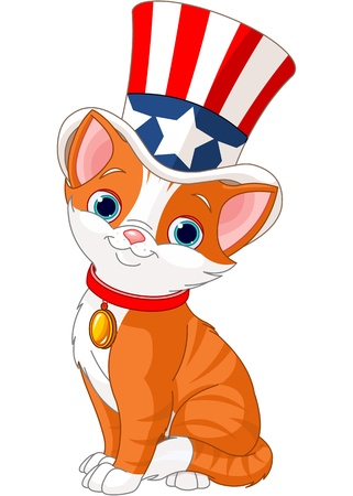 fourth july: Fourth of July kitten with top hat