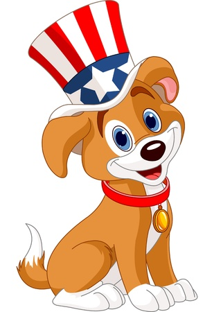 cartoon dog: Fourth of July puppy with top hat