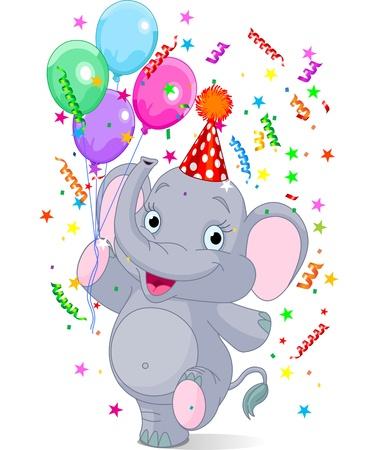 elefante: Cumplea�os del elefante lindo beb� feliz