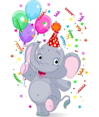 Happy  cute baby elephant birthday  Vector