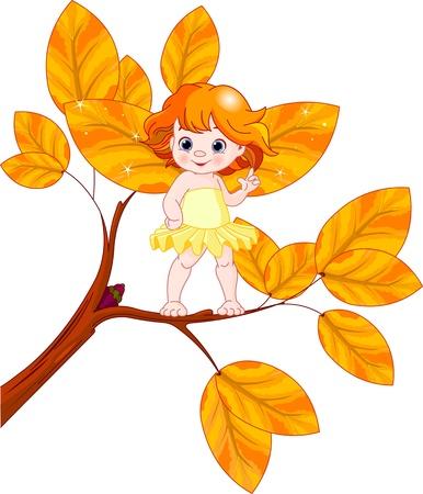 Illustratie van een herfst babyfee Stockfoto - 19704451