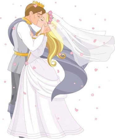 hadas caricatura: Rom�ntico de la boda de la pareja real