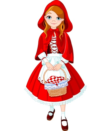 girl in red dress: Illustration of little red riding hood