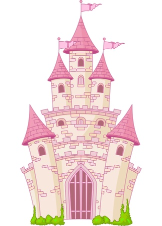 Illustration of a Magic Fairy Tale Princess Castle Vector