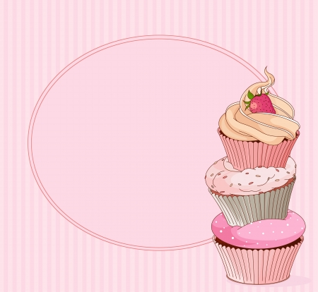 cupcake illustration: Cupcake card with place for text