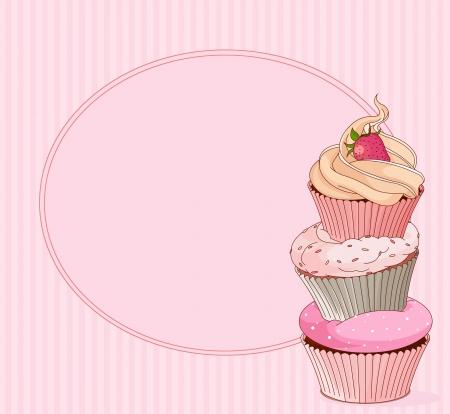 Cupcake kaart met plaats voor tekst