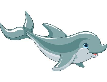 delfin: Dolphin Swimming na białym tle Ilustracja