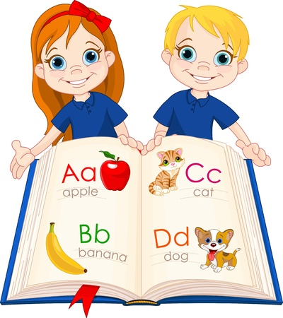 learning language: Ilustraci�n de dos ni�os y libros ABC