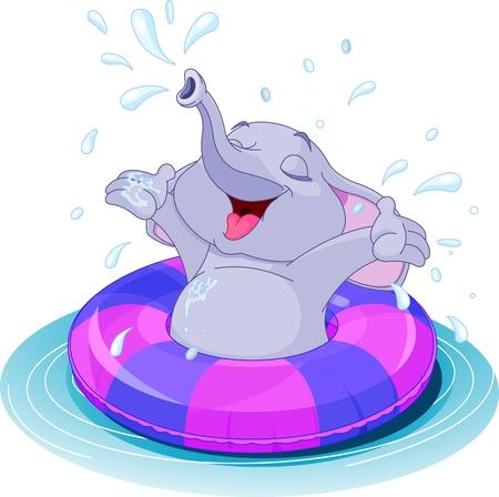 Summer fun elephant swimming 일러스트