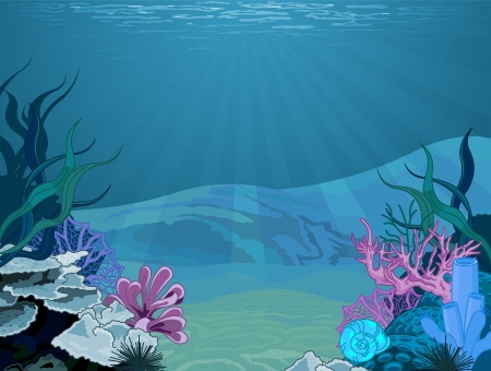 underwater diving: Illustration background of an underwater scene