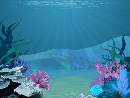seetang: Illustration Hintergrund einer Unterwasser-Szene