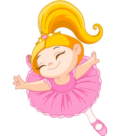 Happy little ballerina in ballet jump Stock Vector - 20196919