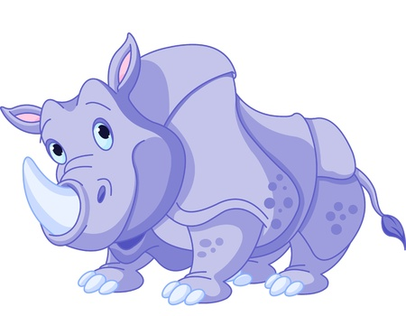 Illustration of cartoon funny  rhino  Vector