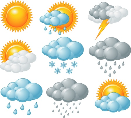 partly: Nine weather related icons set