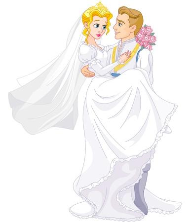 행복 왕실 커플의 결혼식 일러스트