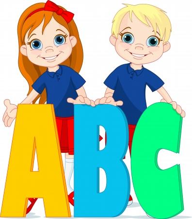 Illustratie twee kinderen en ABC letters