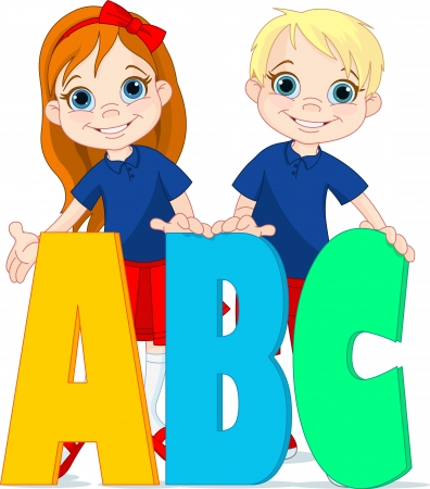 learning language: Ilustraci�n de dos ni�os y las letras ABC Vectores