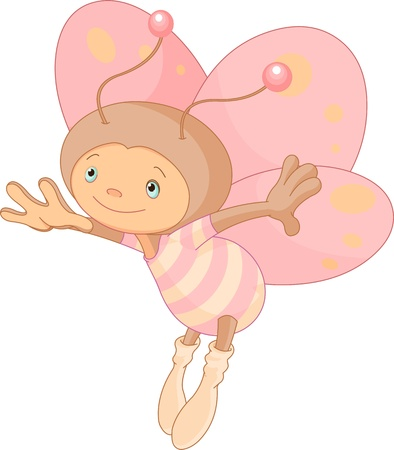 Illustration of cute flying butterfly