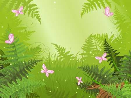 fairy cartoon: Magic forest landscape with butterfly Illustration