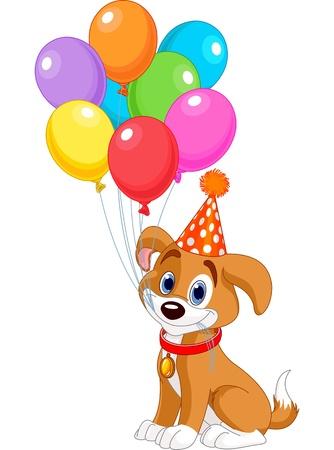 perro caricatura: Perrito lindo con globos de cumpleaños y un sombrero del partido