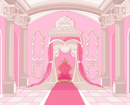 Interior of the Throne room of magic castle Vector