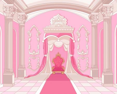 Wnętrze sali tronowej zamku magii