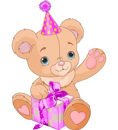 귀여운 테디 베어 들고 분홍색 선물 상자 일러스트