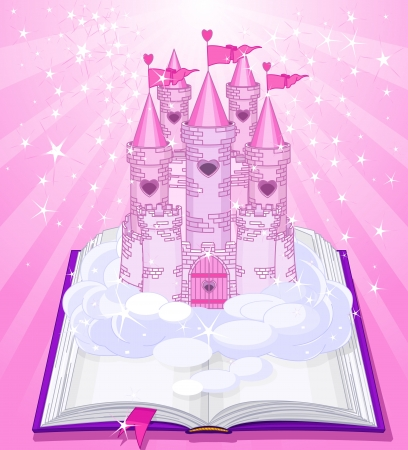 magic book:   Fairy tale castle appearing from the old book