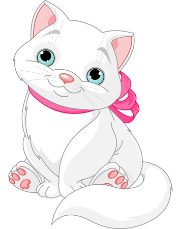 Illustration of cute fat cat with pink bow Illustration