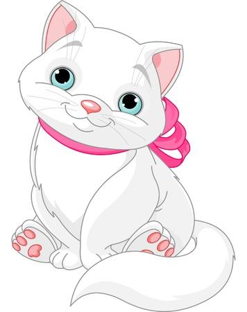 Illustratie van leuke vette kat met roze strik Stock Illustratie