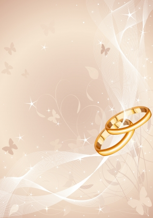 Wedding rings background with copy space