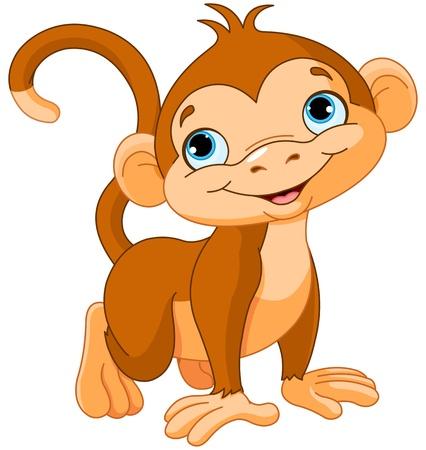 diversion: Ilustración del mono lindo bebé