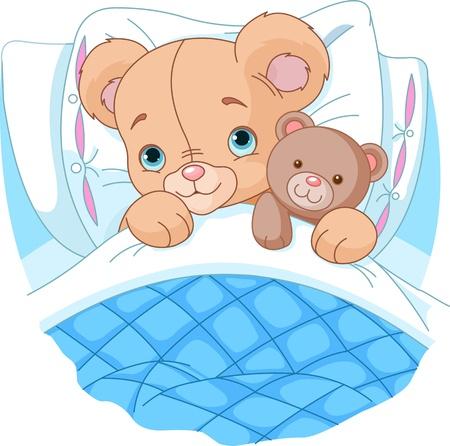Schattige baby beer is klaar om te slapen, knuffelen zijn teddy beer Stock Illustratie
