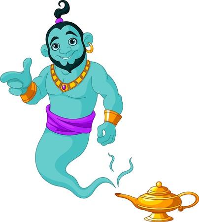 genio de la lampara: Genie aparecer de la lámpara mágica