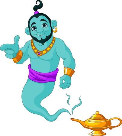lampe magique: Genie apparaissent de lampe magique Illustration