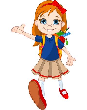 Klein meisje naar school Stock Illustratie