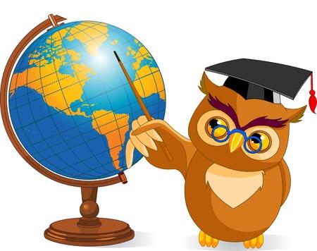owl illustration: Illustration of wise owl with world globe Illustration