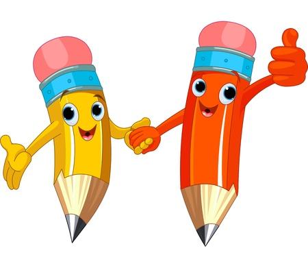 Twee schattige potloden die handen