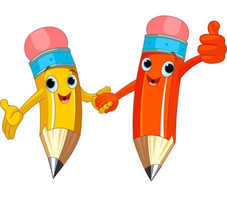 happy couple: Two cute pencils holding hands
