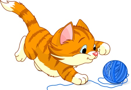 Kitten playing with yarn ball   向量圖像