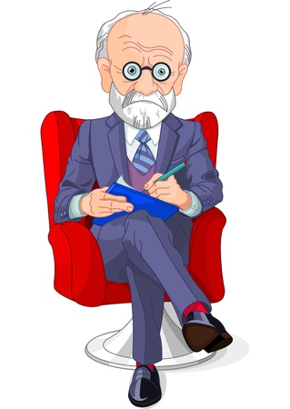 therapist: Psychiatrist at a session of psychoanalysis Illustration
