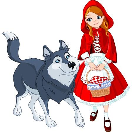 빨간 모자는 늑대를 충족 일러스트